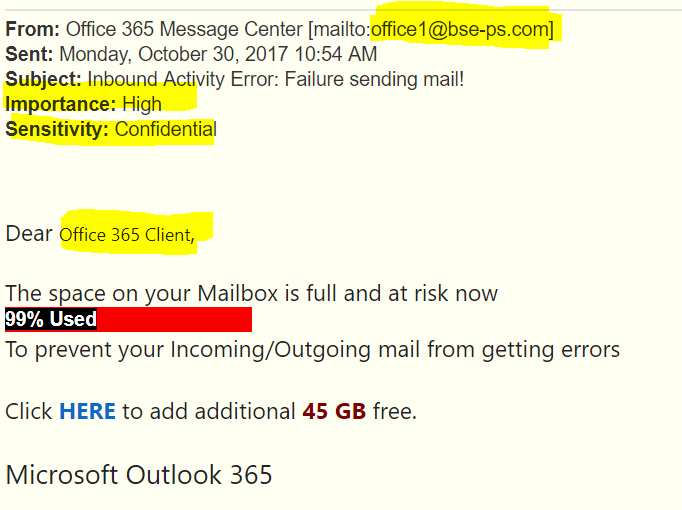 Office 365 Phishing Examples - Wireguided LLC
